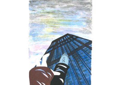 Falling skyscraper